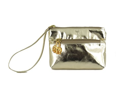 Purse LONI Clutch Womens Gold Metallic Bag Wristlet wx6IAfxr