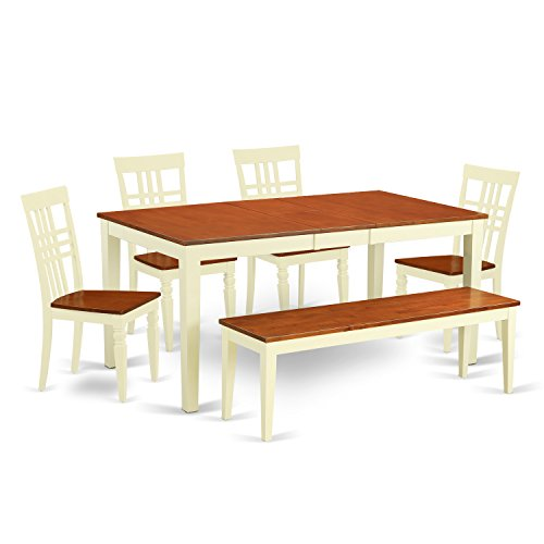 East West Furniture NILG6-BMK-W 6 PC Dining Room Table Se...