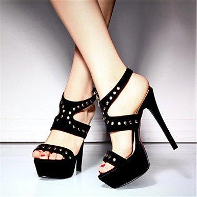 y Rojo Vestido Sandalias Stiletto Azul Tacón ligaosheng Noche Mujer Fiesta Gladiador Informal Terciopelo black Otro Negro H6zq4Snf