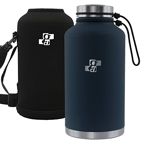 Stainless Steel Insulated Beer Growler or Water Bottle 64 oz with Growler Carrier