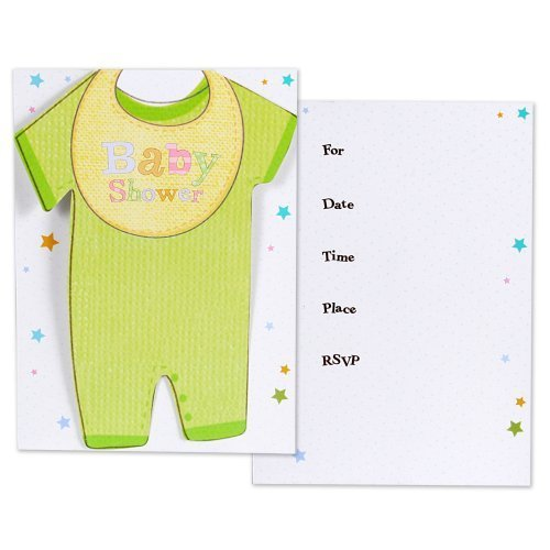 - Cuddly Clothesline Folded Baby Shower Invitation Cards- 8ct