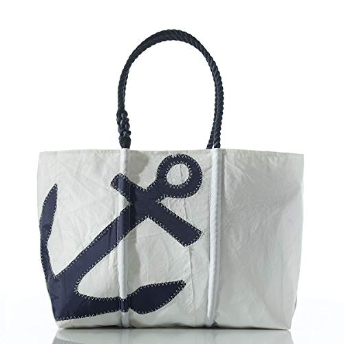 Sea Bags Recycled Sail Cloth Navy Zip Top Anchor Tote Large made in Maine