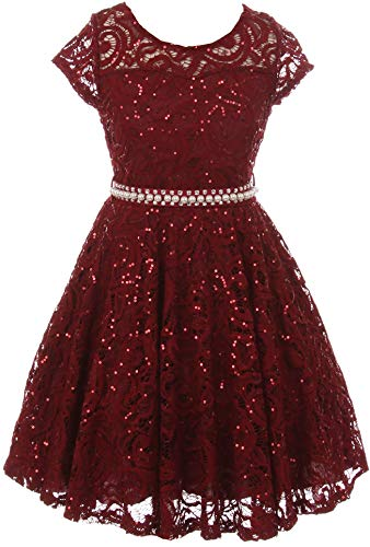 BNY Corner Big Girl Cap Sleeve Floral Lace Glitter Pearl Holiday Party Flower Girl Dress Burgundy 16 JKS 2102