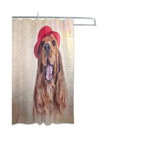 ALAZA English Cocker Spaniel Dog Shower Curtain 72 x 72 Inch Waterproof Polyester Decoration Bathroom Curtain with Hooks 2