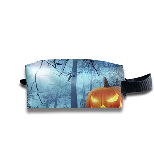 (Halloween Kürbis in Schauriger Umgebung Bei Mondschein Multi-Function Key Purse Coin Cash Pencil Travel Makeup Toiletry Bag Box)