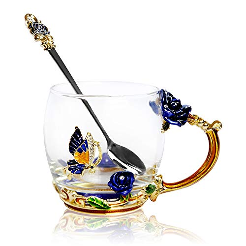 (POSTWAVE Tea Cup Coffee Mug Cups Clear Glass & Spoon Handmade blue rose Flower for Birthday Wedding Anniversary Valentine's Day Mom Wife Gift Cup)