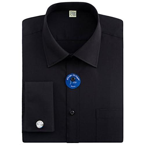 "J.Ver Men's Regular Fit French Cuff Spead Collar Long Sleeve Metal Cufflink Dress Shirts - Color Black, Size: 16.5""..."