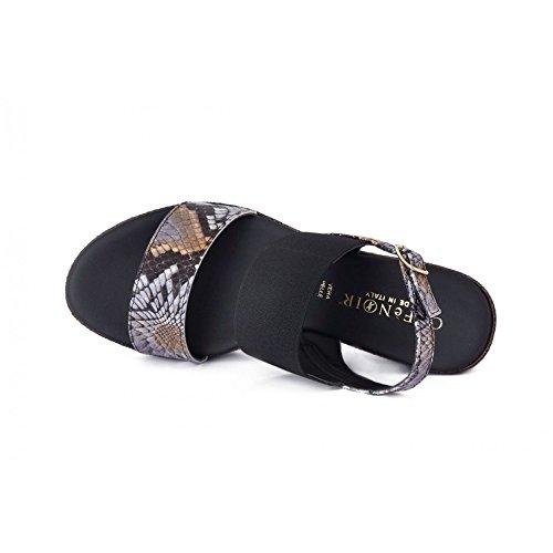 Cafè Noir Hh810 Multi Sandales Noires Femme Bracelet En Cuir Bandes 37