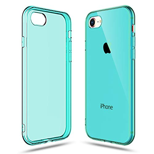 (Shamo's Transparent Shock Absorption TPU Rubber Gel Case (Teal) Compatible with iPhone 7 and iPhone 8)