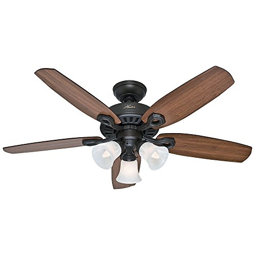 Hunter 52107 Builder Small Room 42-Inch New Bronze Ceiling Fan with Five Brazilian Cherry/Harvest Mahogany Blades and a Light Kit ()