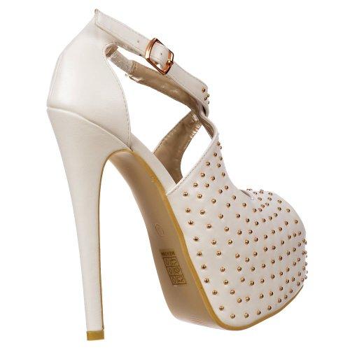 talon forme Mesdames plate chaussures haut PU cloutées Stiletto blanc Pu Blanc lanières Onlineshoe de zdXqq