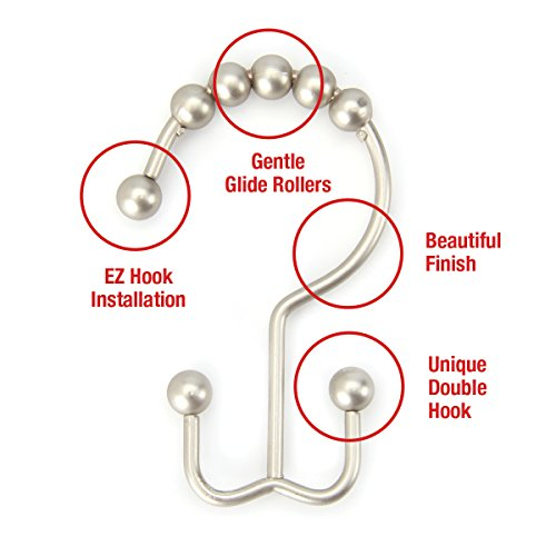 Rust-free // Corrosion-free in Brushed Nickel Finish Set of 12 Hooks Premium Quality Double-hook Rollerball Shower Curtain Rings