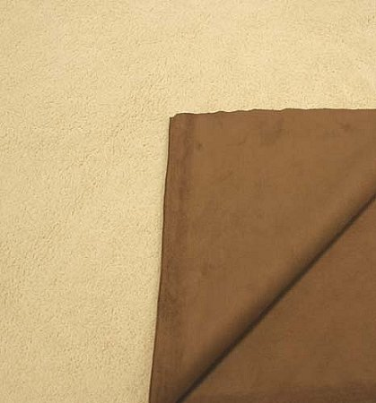 Faux Shearling/Synthetic Suede Reversible! Fabric by The Yard - Camel/Brown