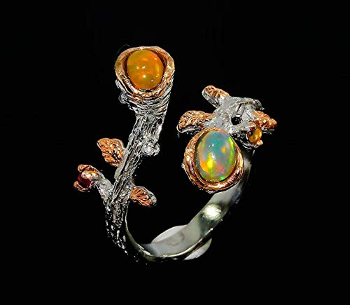 Fire opal ring for women birthday gift for her 925 sterling silver nature inspired handmade jewelry Mother's day gift wife sister coworker boss