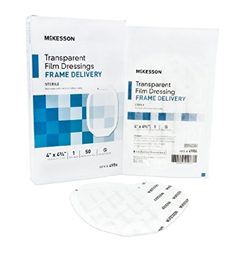 McKesson 4986 Transparent Film Dressing with Frame Delivery, Sterile, 4