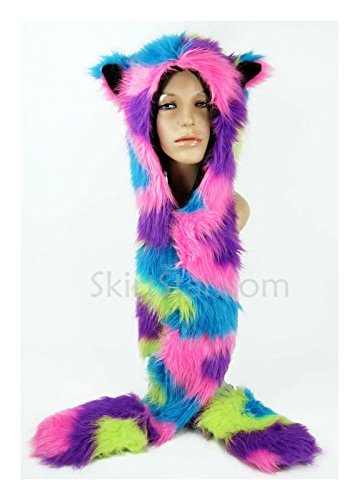 Largemouth Unisex Furry Hood with Ears and Hand Warmers (Neon Swirl) by Largemouth