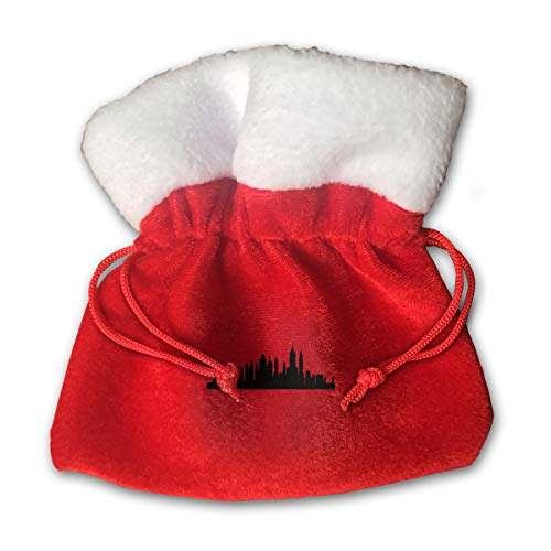 CYINO Personalized Santa Sack,New York City Skyline Silhouette Portable Christmas Drawstring Gift Bag (Red) for $<!--$14.99-->