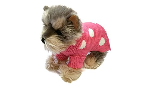 Le Petit Chien Small Dog Clothes Warm Cute French Polka Dots Pet Sweater. Winter Apparel, Puppy (X-Small, Pink)
