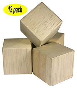 2 inch unfinished craft wood blocks 12 pieces by nesha. Black Bedroom Furniture Sets. Home Design Ideas
