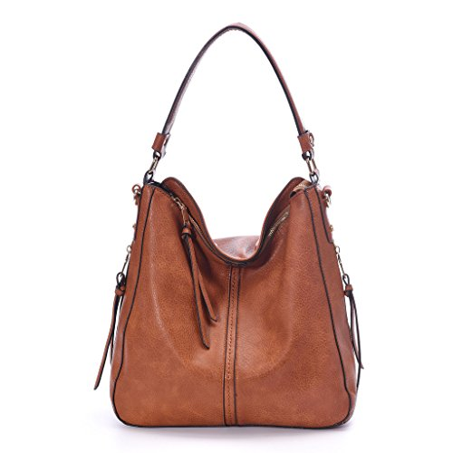 DDDH Vintage Hobo Handbags Large Shoulder Tote Messenger Bags Bucket Bag For Women/Ladies(Brown)