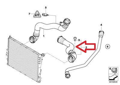 Radiator to Thermostat housing for Z4 2.5i Z4 3.0i E85 BMW Genuine Radiator Hose