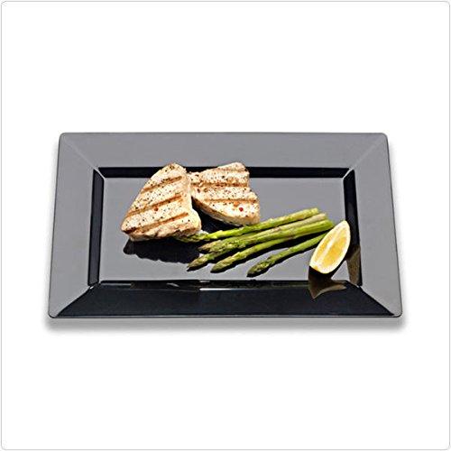 Black 6 Inch Plastic Rectangular Plates - Case of 120