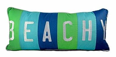 Beachy Blue & Green Decorative Lumbar Pillow