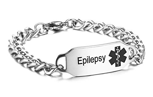JF.JEWELRY Stainless Steel Curb Chain Epilepsy Medical Alert ID Bracelet for Men Adjustable Black Chain Rubber Stainless Steel Bracelet