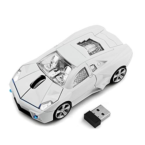 Car Mouse Wireless, EASYPLAY Cool Sport Car Shape 2.4GHz Wireless Mouse 3 Button 1600 DPI High Tracking Speed Optical Mouse with USB Receiver for PC Laptop Computer Mac (White)