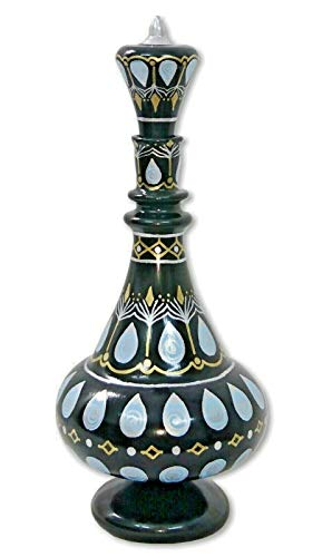 (LJ375 I Dream of Jeannie Genie Hand Painted Mouth-Blown Glass Black Bottle)