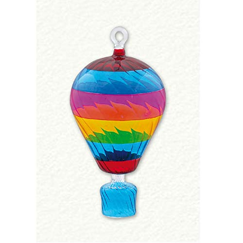 Home and Holiday Shops Multi Color Hot Air Balloon Egyptian Glass Christmas Tree Ornament Made in Egypt