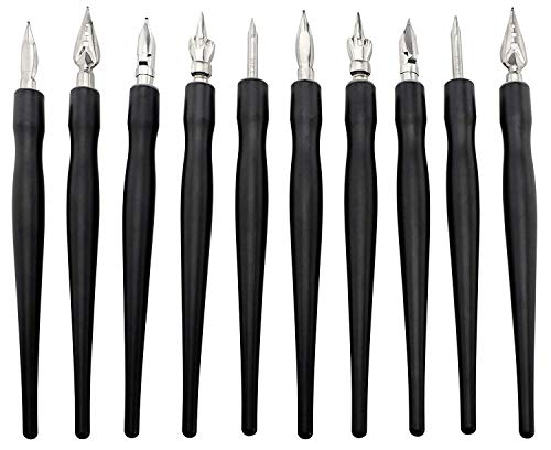 Calligraphy Dip Pen & Nib Set (10 Straight Nib Holders & 10 Nibs), 20-Piece Set