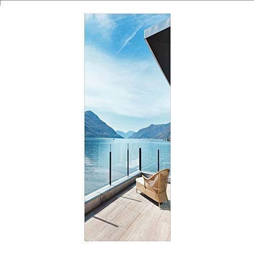 (3D Decorative Film Privacy Window Film No Glue,Patio Decor,Penthouse Terrace with Ocean Sea and Mountain Landscape Photo,Sky Blue Black and White,for Home&Office)