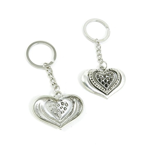 100 Pieces Keychain Door Car Key Chain Tags Keyring Ring Chain Keychain Supplies Antique Silver Tone Wholesale Bulk Lots Y3AR9 Love Heart by WOWGAME2009 KEYRING