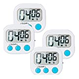 4-Pack Small Digital Kitchen Timer Food Timer, Big Digits Loud Alarm Magnetic Backing