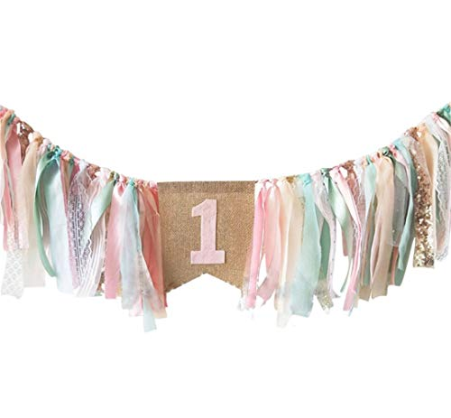(Pink Princess Style Tutu 1st Birthday High Chair Banner First Birthday Party Supplies)
