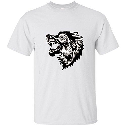 GUCCI woof tshirt - wolf jacquard Unisex Cotton T-Shirt White (Jacquard Gucci)