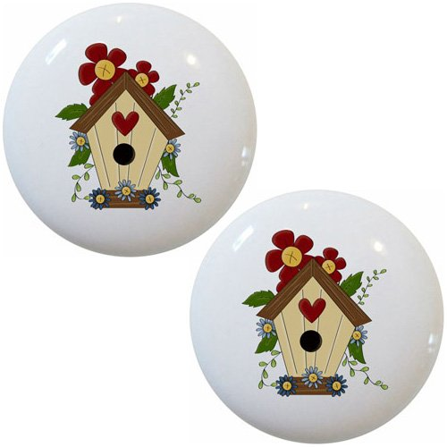Birdhouse Cabinet Knob - Set of 2 Birdhouse Ceramic Cabinet Drawer Knobs