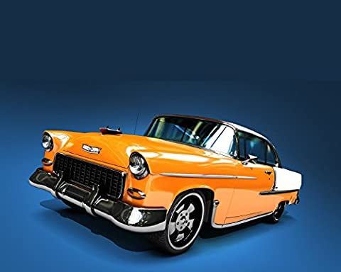 Box Framed Photo Print 1955 Chevy Orange - Pictures 1955 Chevy