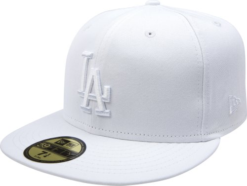 MLB Los Angeles Dodgers White on White 59FIFTY Fitted Cap, 7 1/4