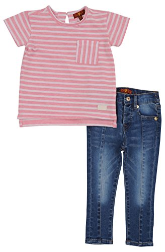 7 For All Mankind Girl's 2 Piece Set Short Sleeve Crewneck Top Skinny Jeans Peaches N Cream (7 For All Mankind Tops)