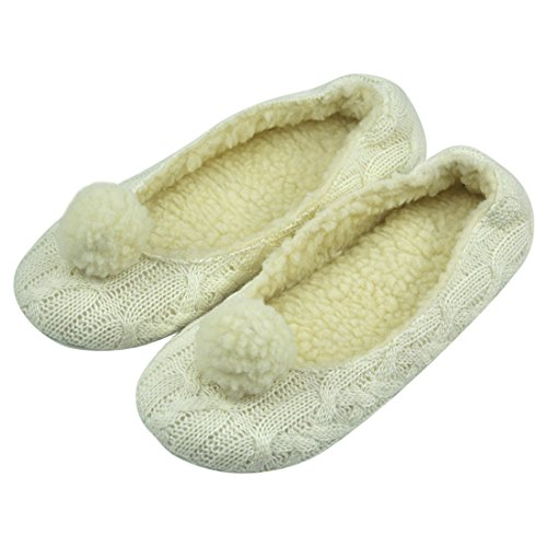Women Ballerina Slippers, Forfoot Cozy Cashmere Knit Closed Toe House Bedroom Slippers Shoes with Pom Poms US 10 White