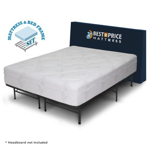 "Best Price Mattress 12"" Grand Memory Foam Mattress & New Innovative Box Spring Platform Metal Bed Frame/Foundation, King"