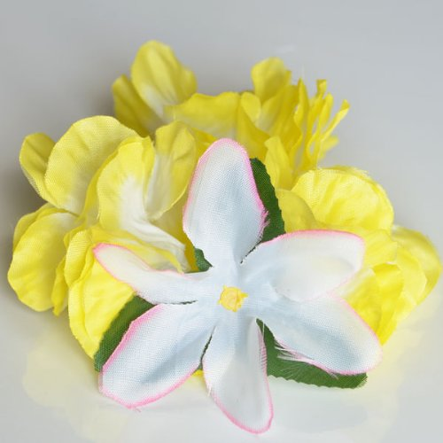 Premium Hawaiian Wrist/Anklet- Paradise Petunia w/ Orchids in Pineapple Yellow (Petunia Orchid)