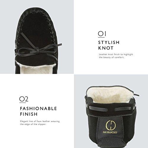 Sandal Moccasins Fur Women's Loafer Vegan Flat Black Casual Shoes Classic DailyShoes qx8BwEIq