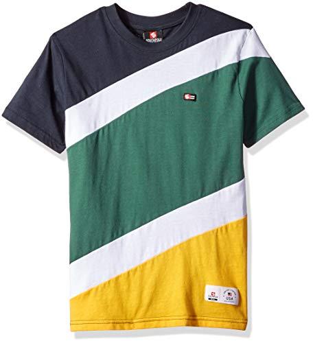 (Southpole - Kids Boys' Big Colorblock Short Sleeve Fashion Tee, Yellow Diagonal Cut, Medium )