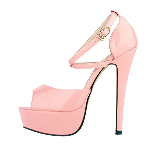 Women's Fashion Peep Toe Stiletto Slip On Platform Sandal Pumps High Heels Shoes Pink Patent PU B0cLAcEPCJ