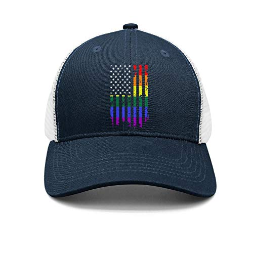 Unisex Stylish Mesh Trucker Cap-Distressed Rainbow Flag Gay Pride Style Fitted Travel Sunscreen Hat Outdoors