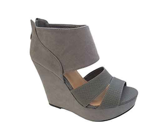 Platform Toe Wedge Ladies Womens Suede Block Heel Hot Grey Shoes High Cuff Strap Peep 6twRBfq