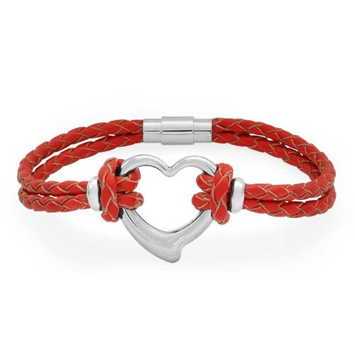 (Bling Jewelry Open Heart Red Woven Weave Thin Braided Cord Multi Strand Leather Bracelet for Women for Girlfriend Silver Tone Steel)